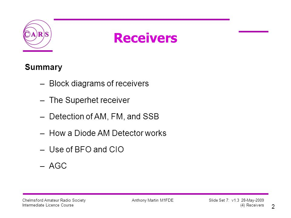 2 Chelmsford Amateur Radio Society Intermediate Licence Course Anthony Martin M1FDE Slide Set 7: v1.3 28-May-2009 (4) Receivers Receivers Summary –Block diagrams of receivers –The Superhet receiver –Detection of AM, FM, and SSB –How a Diode AM Detector works –Use of BFO and CIO –AGC
