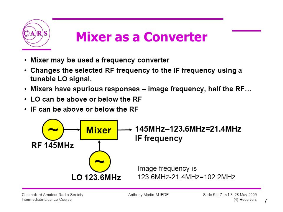 7 Chelmsford Amateur Radio Society Intermediate Licence Course Anthony Martin M1FDE Slide Set 7: v1.3 28-May-2009 (4) Receivers Mixer as a Converter Mixer may be used a frequency converter Changes the selected RF frequency to the IF frequency using a tunable LO signal.