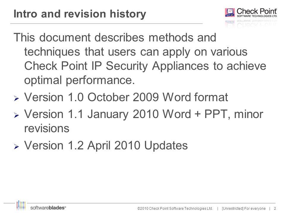 3 3©2010 Check Point Software Technologies Ltd.