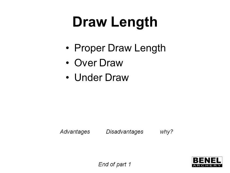 Draw Length Proper Draw Length Over Draw Under Draw AdvantagesDisadvantages why End of part 1