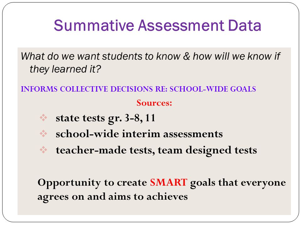 Summative Assessment Data What do we want students to know & how will we know if they learned it? INFORMS COLLECTIVE DECISIONS RE: SCHOOL-WIDE GOALS S