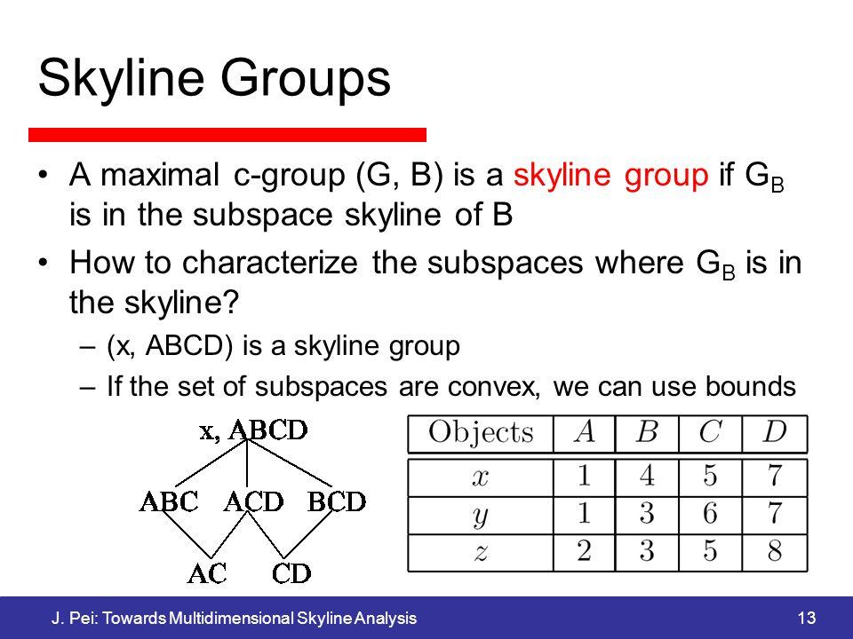 J. Pei: Towards Multidimensional Skyline Analysis13 Skyline Groups A maximal c-group (G, B) is a skyline group if G B is in the subspace skyline of B