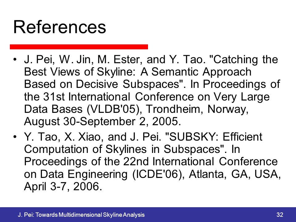 J. Pei: Towards Multidimensional Skyline Analysis32 References J.