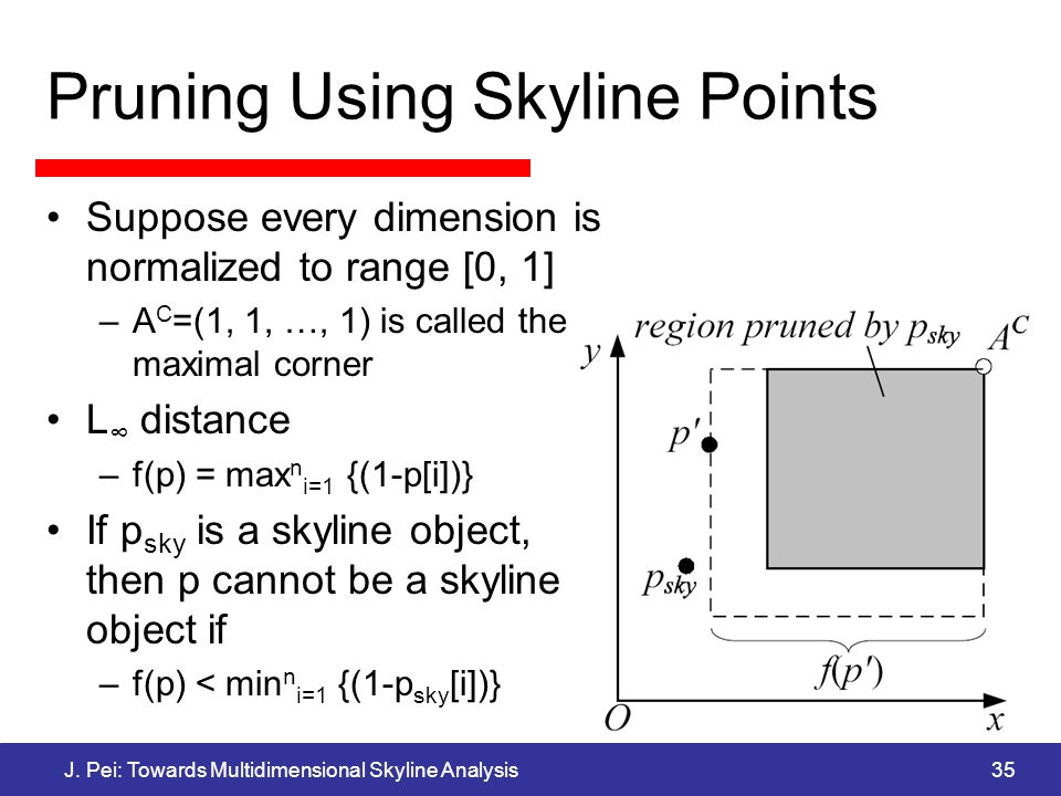 J. Pei: Towards Multidimensional Skyline Analysis35 Pruning Using Skyline Points Suppose every dimension is normalized to range [0, 1] –A C =(1, 1, …,