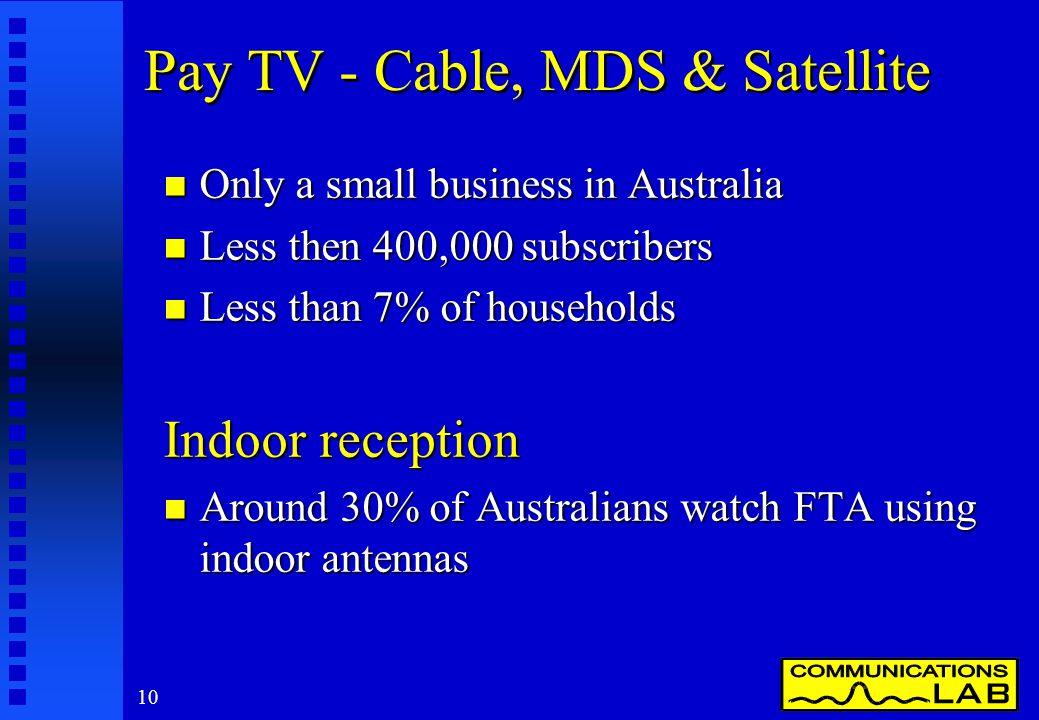 10 Pay TV - Cable, MDS & Satellite n Only a small business in Australia n Less then 400,000 subscribers n Less than 7% of households Indoor reception n Around 30% of Australians watch FTA using indoor antennas