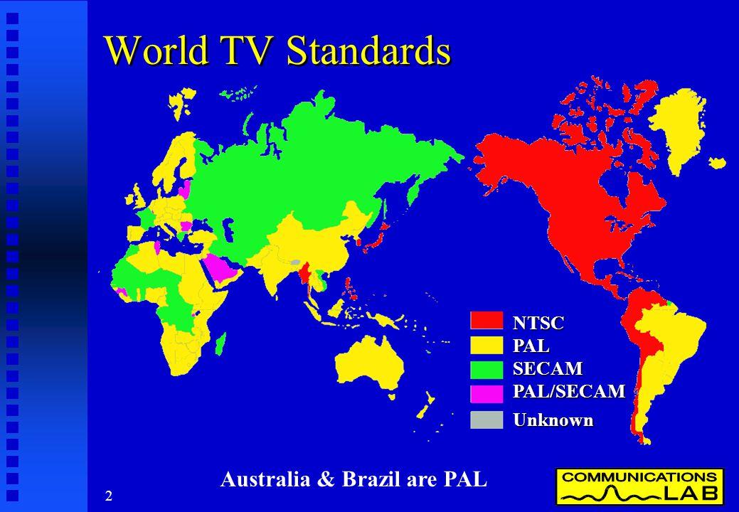 2 World TV Standards Australia & Brazil are PAL NTSC PAL SECAM PAL/SECAM Unknown