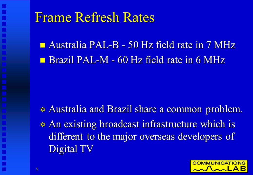 5 Frame Refresh Rates n Australia PAL-B - 50 Hz field rate in 7 MHz n Brazil PAL-M - 60 Hz field rate in 6 MHz Y Australia and Brazil share a common p