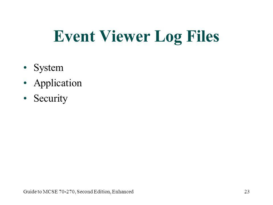 Guide to MCSE 70-270, Second Edition, Enhanced23 Event Viewer Log Files System Application Security