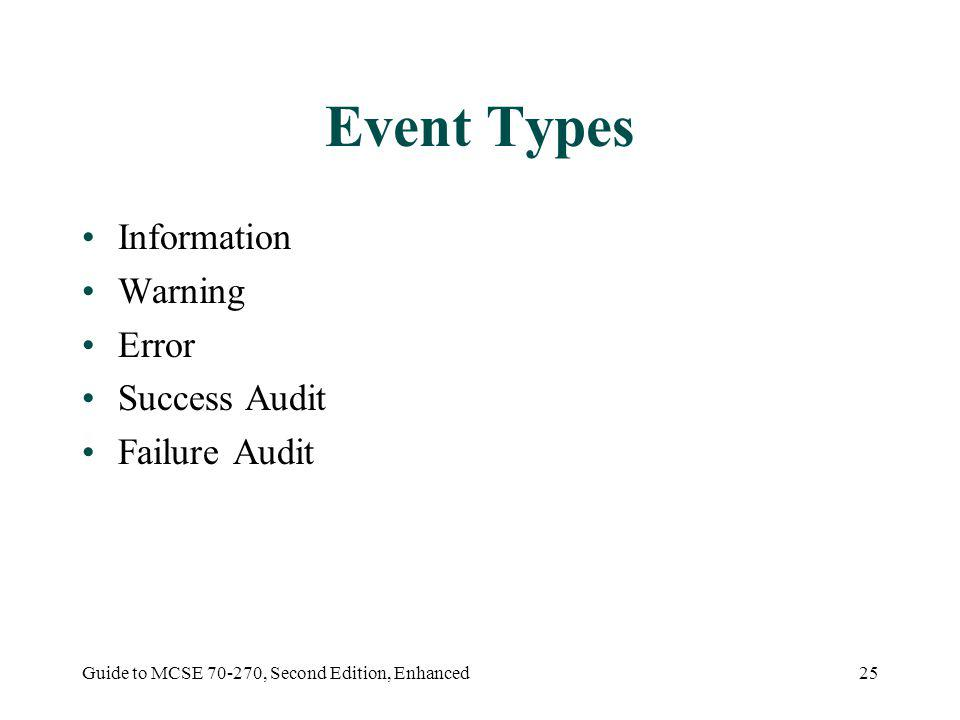Guide to MCSE 70-270, Second Edition, Enhanced25 Event Types Information Warning Error Success Audit Failure Audit
