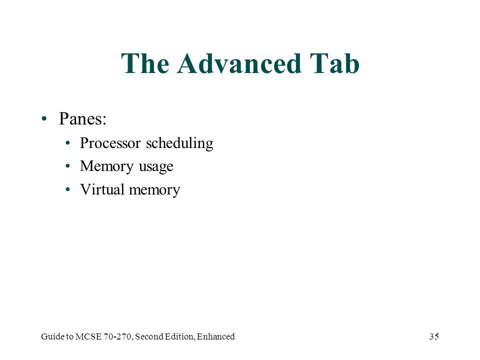 Guide to MCSE 70-270, Second Edition, Enhanced35 The Advanced Tab Panes: Processor scheduling Memory usage Virtual memory