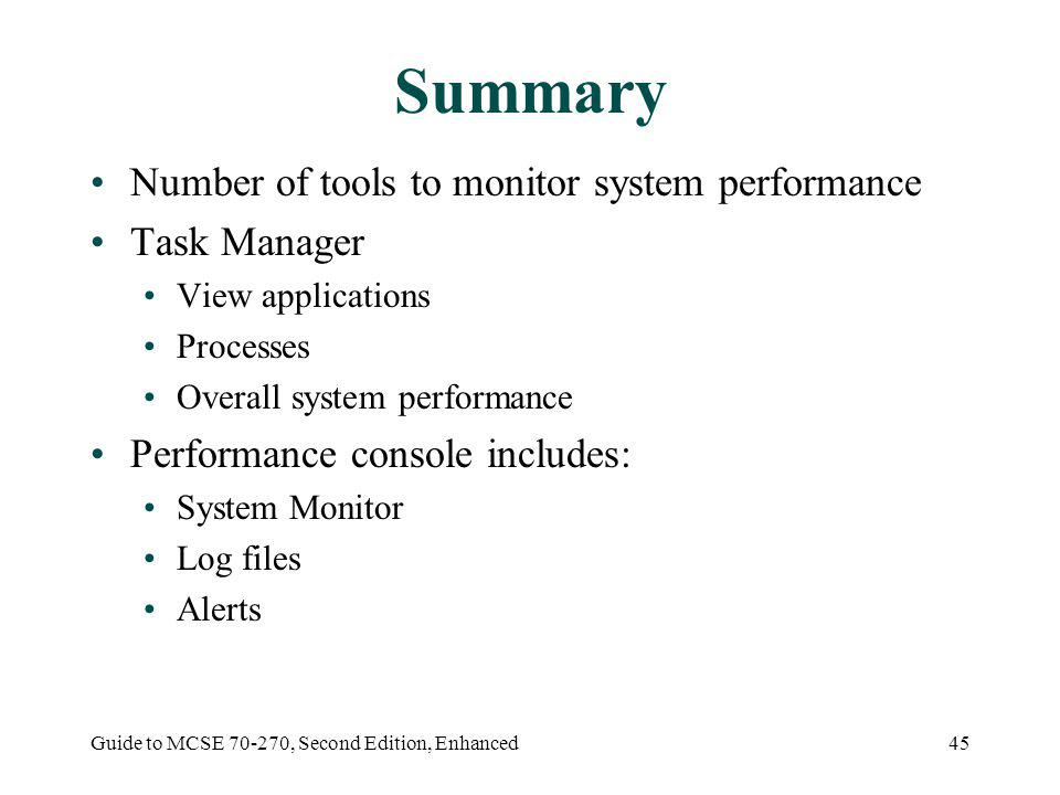 Guide to MCSE 70-270, Second Edition, Enhanced45 Summary Number of tools to monitor system performance Task Manager View applications Processes Overall system performance Performance console includes: System Monitor Log files Alerts