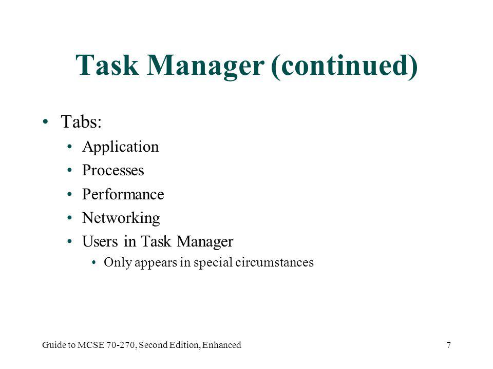 Guide to MCSE 70-270, Second Edition, Enhanced7 Task Manager (continued) Tabs: Application Processes Performance Networking Users in Task Manager Only appears in special circumstances