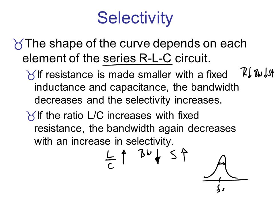 Selectivity The shape of the curve depends on each element of the series R-L-C circuit. If resistance is made smaller with a fixed inductance and capa