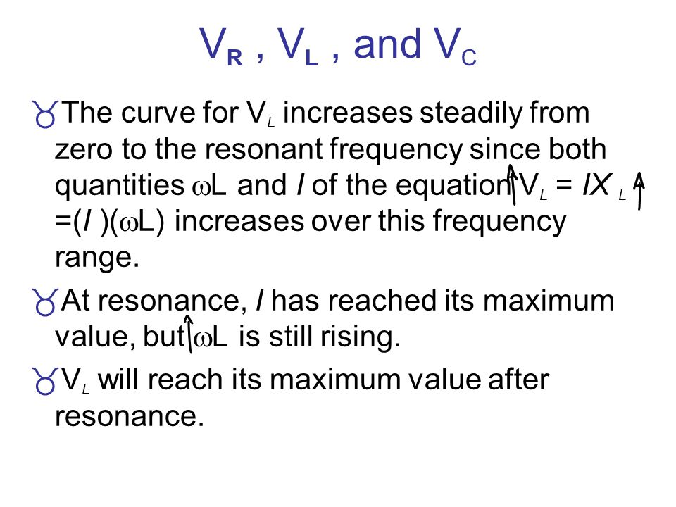 V R, V L, and V C The curve for V L increases steadily from zero to the resonant frequency since both quantities L and I of the equation V L = IX L =(