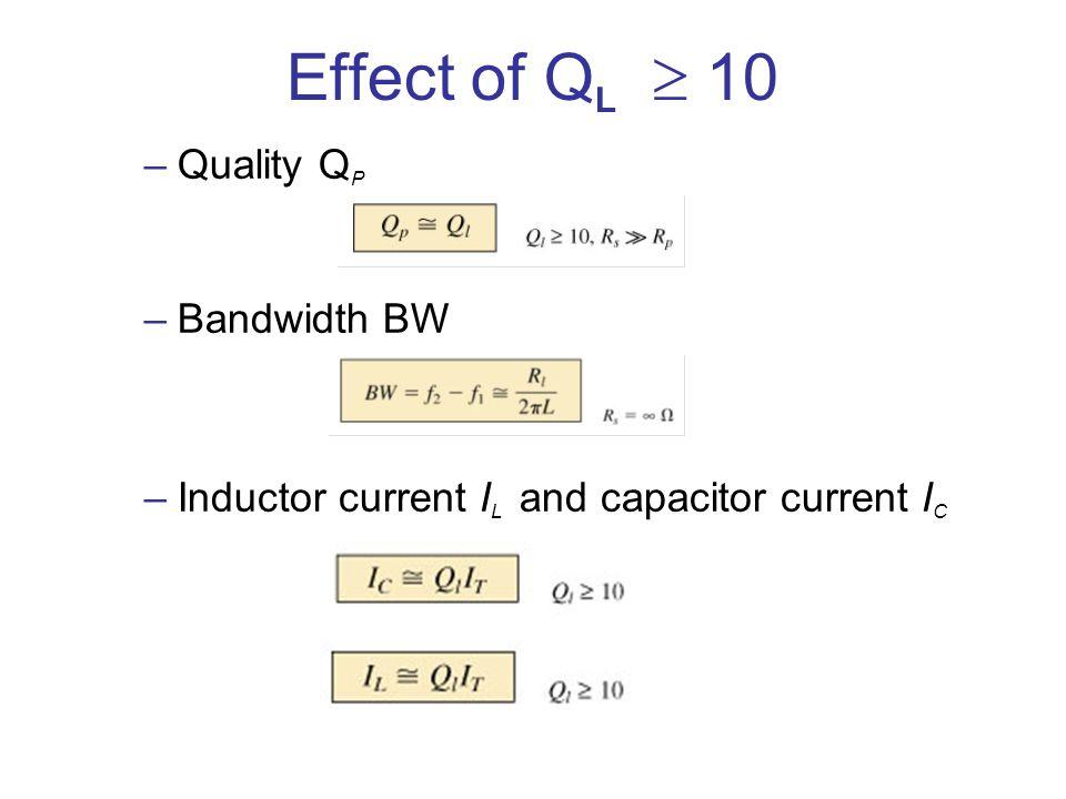 Effect of Q L 10 –Quality Q P –Bandwidth BW –Inductor current I L and capacitor current I C