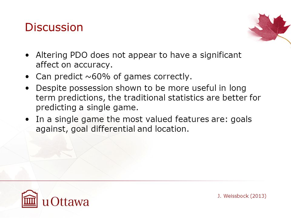 Discussion Altering PDO does not appear to have a significant affect on accuracy. Can predict ~60% of games correctly. Despite possession shown to be