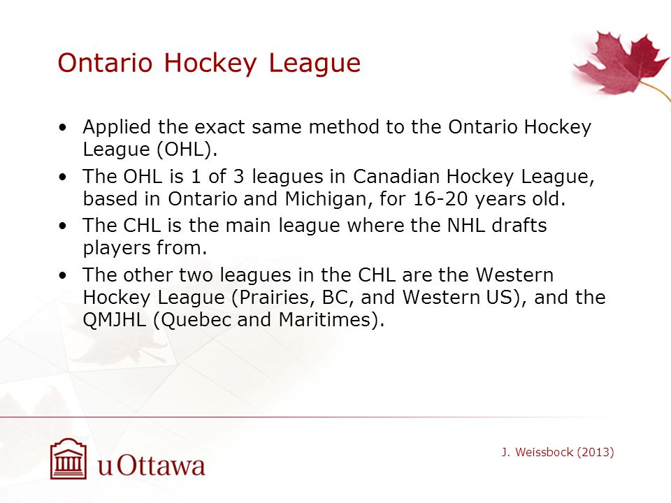 Ontario Hockey League Applied the exact same method to the Ontario Hockey League (OHL). The OHL is 1 of 3 leagues in Canadian Hockey League, based in