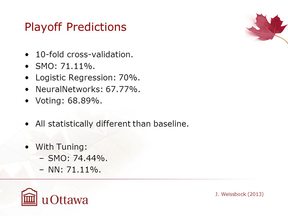 Playoff Predictions 10-fold cross-validation. SMO: 71.11%. Logistic Regression: 70%. NeuralNetworks: 67.77%. Voting: 68.89%. All statistically differe