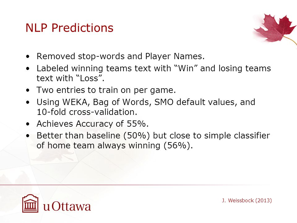 NLP Predictions Removed stop-words and Player Names. Labeled winning teams text with Win and losing teams text with Loss. Two entries to train on per