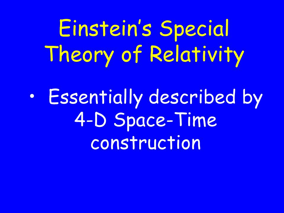 Einsteins Special Theory of Relativity Essentially described by 4-D Space-Time construction