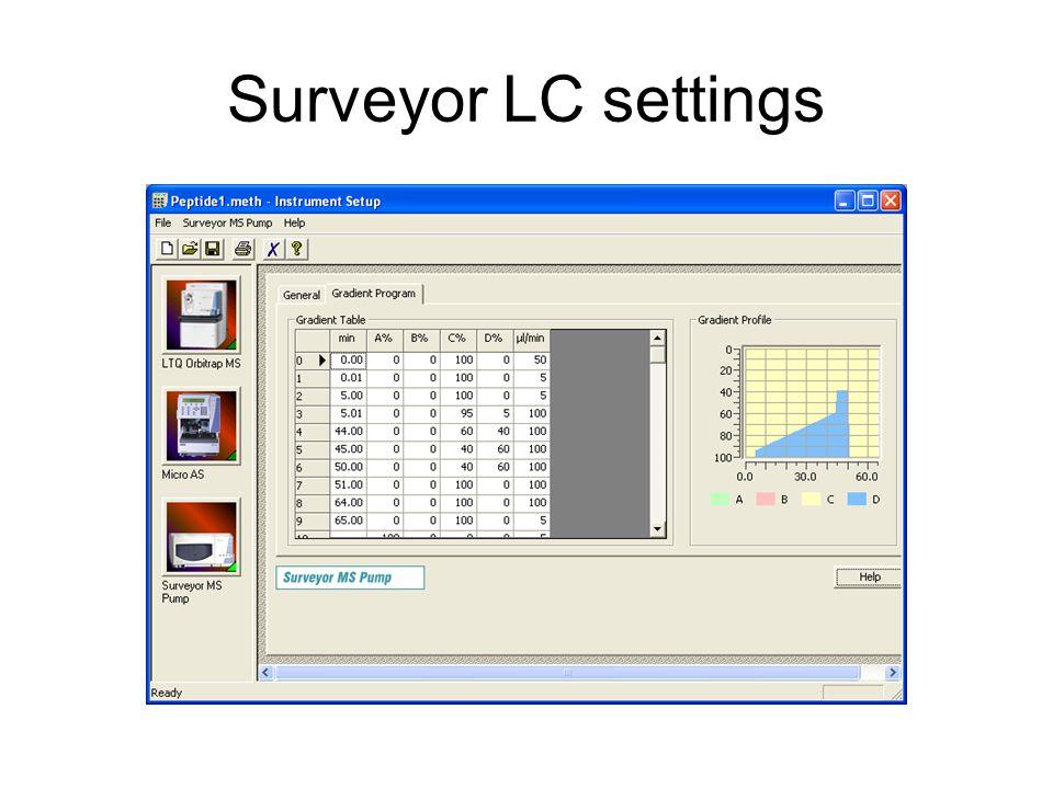 Surveyor LC settings