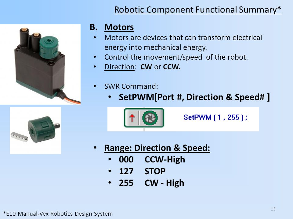 Robotic Component Functional Summary* B.