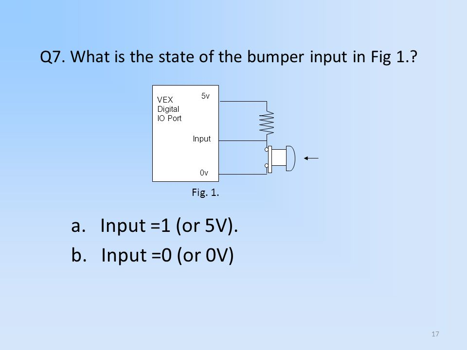 17 5v VEX Digital IO Port 0v Input Q7. What is the state of the bumper input in Fig 1.? a. Input =1 (or 5V). b. Input =0 (or 0V) Fig. 1.