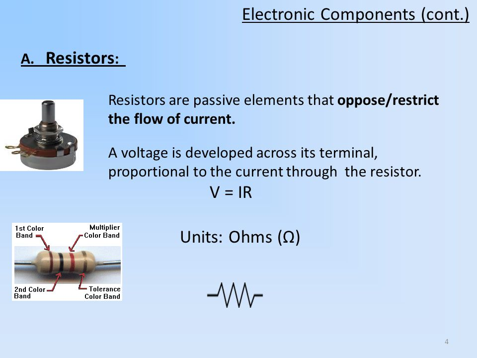 4 Resistors are passive elements that oppose/restrict the flow of current. A voltage is developed across its terminal, proportional to the current thr