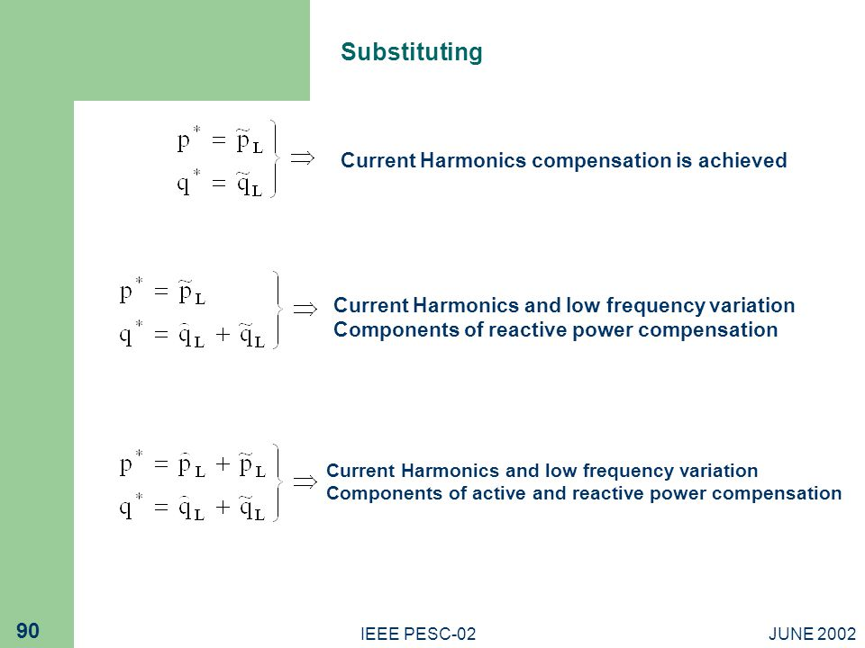 JUNE 2002IEEE PESC-02 90 Current Harmonics compensation is achieved Current Harmonics and low frequency variation Components of reactive power compensation Current Harmonics and low frequency variation Components of active and reactive power compensation Substituting