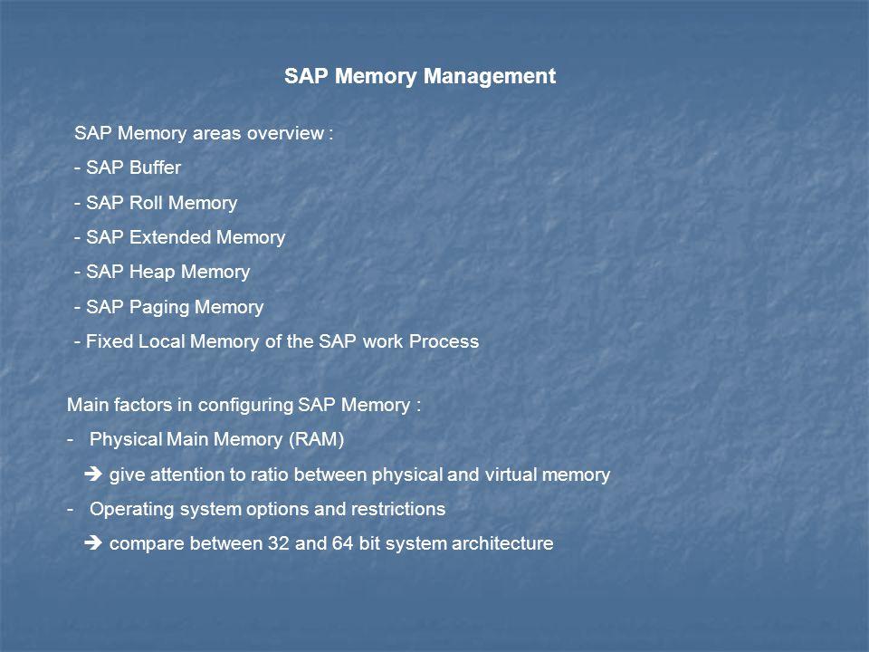 SAP Memory Management SAP Memory areas overview : - SAP Buffer - SAP Roll Memory - SAP Extended Memory - SAP Heap Memory - SAP Paging Memory - Fixed L