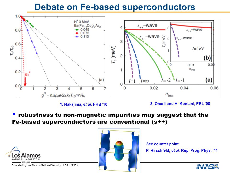 Operated by Los Alamos National Security, LLC for NNSA Debate on Fe-based superconductors S.