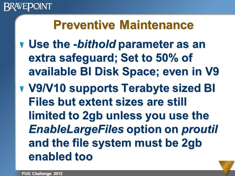 PUG Challenge 2012 Preventive Maintenance Use the -bithold parameter as an extra safeguard; Set to 50% of available BI Disk Space; even in V9 V9/V10 s
