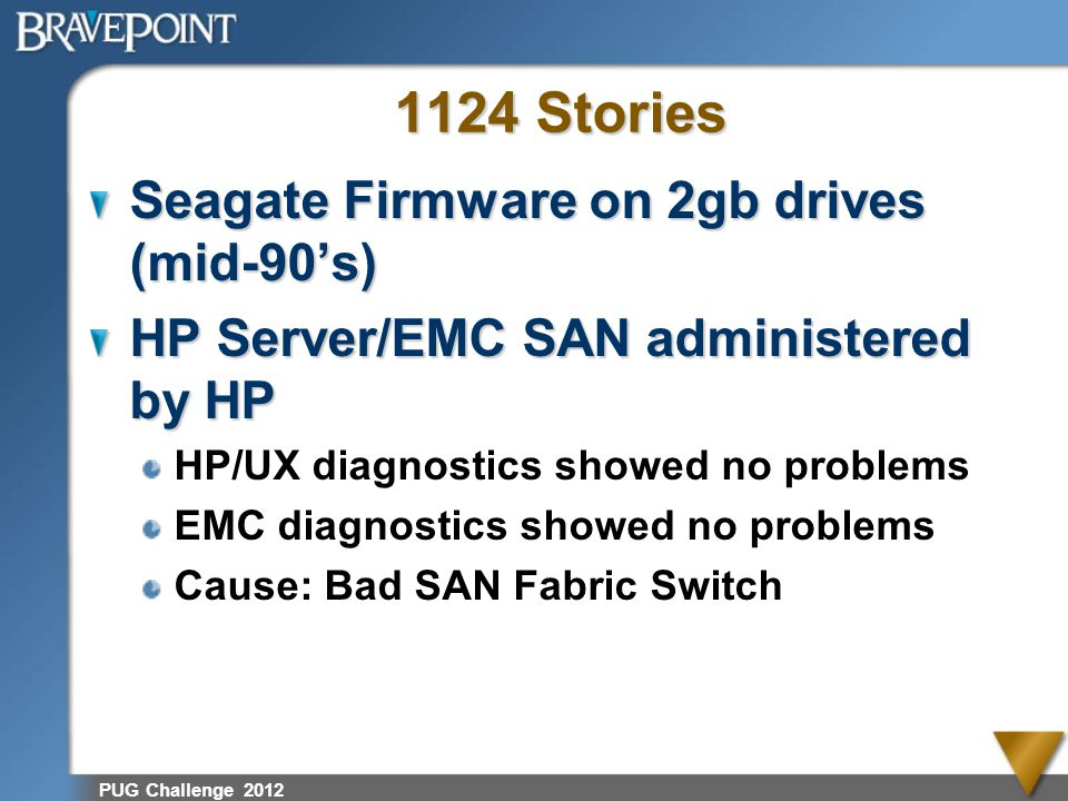 PUG Challenge 2012 1124 Stories Seagate Firmware on 2gb drives (mid-90s) HP Server/EMC SAN administered by HP HP/UX diagnostics showed no problems EMC