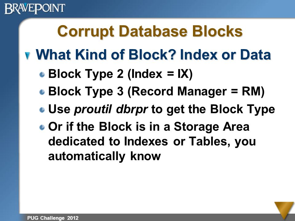 Corrupt Database Blocks What Kind of Block? Index or Data Block Type 2 (Index = IX) Block Type 3 (Record Manager = RM) Use proutil dbrpr to get the Bl