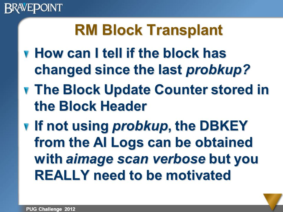 PUG Challenge 2012 RM Block Transplant How can I tell if the block has changed since the last probkup? The Block Update Counter stored in the Block He