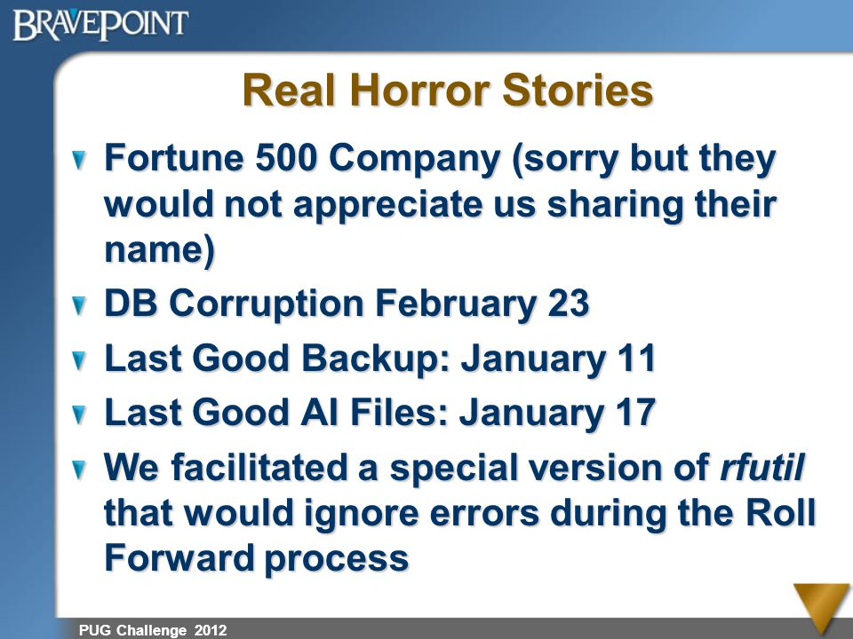 PUG Challenge 2012 Real Horror Stories Fortune 500 Company (sorry but they would not appreciate us sharing their name) DB Corruption February 23 Last