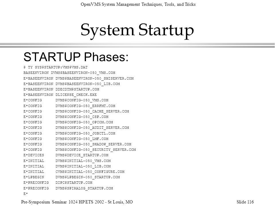 OpenVMS System Management Techniques, Tools, and Tricks Pre-Symposium Seminar 1024 HP ETS 2002 - St Louis, MOSlide 116 System Startup STARTUP Phases: