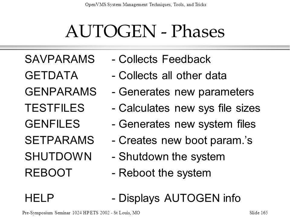 OpenVMS System Management Techniques, Tools, and Tricks Pre-Symposium Seminar 1024 HP ETS 2002 - St Louis, MOSlide 165 AUTOGEN - Phases SAVPARAMS- Col