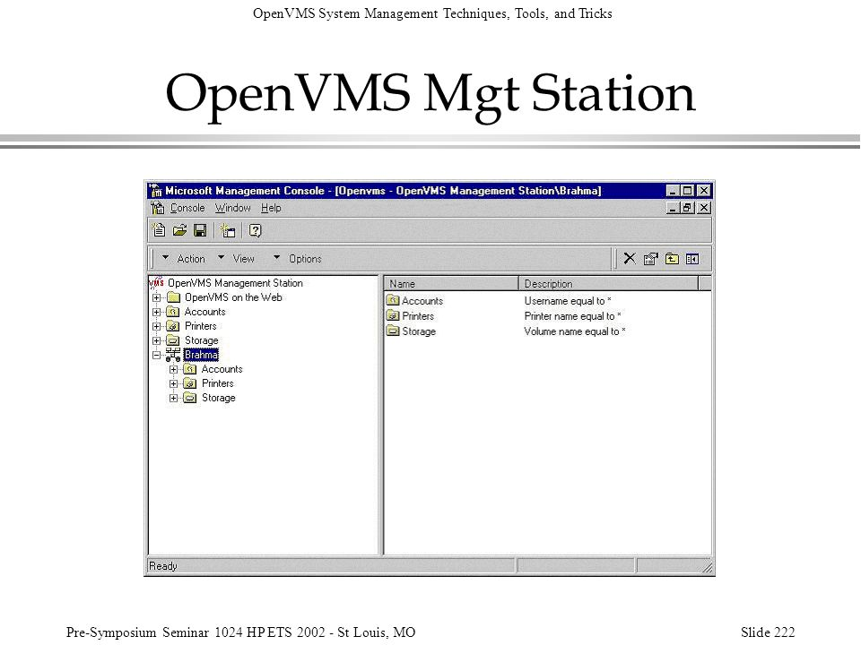 OpenVMS System Management Techniques, Tools, and Tricks Pre-Symposium Seminar 1024 HP ETS 2002 - St Louis, MOSlide 222 OpenVMS Mgt Station