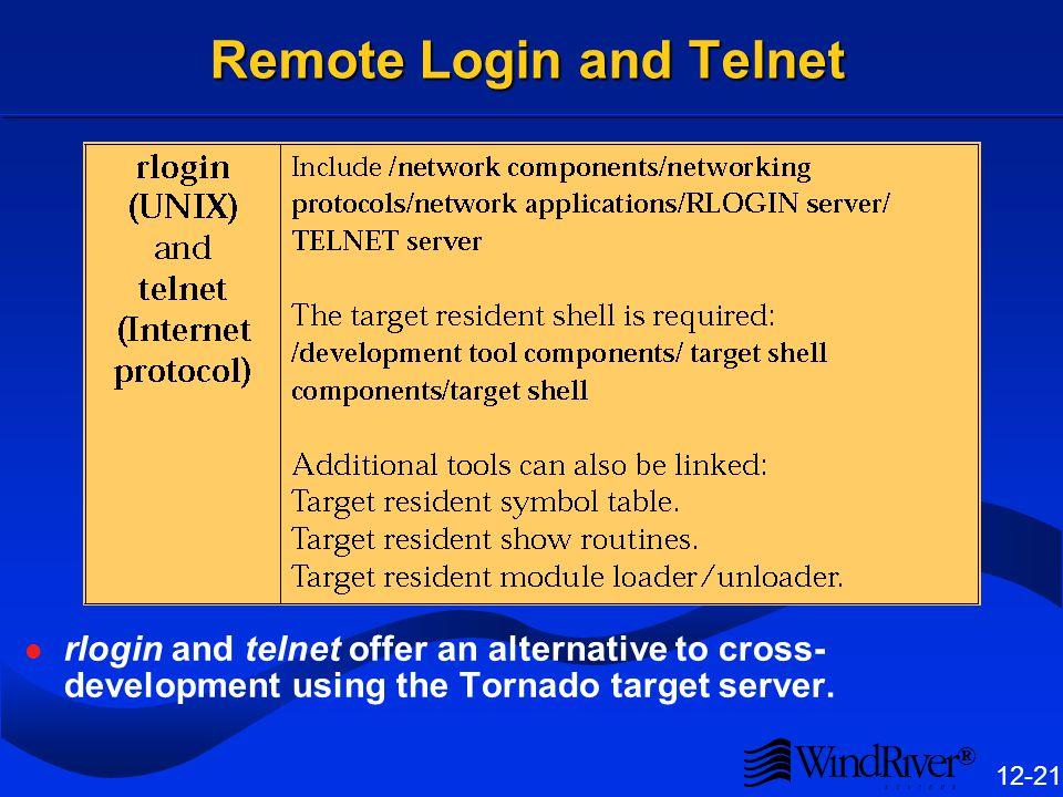® 12-21 Remote Login and Telnet rlogin and telnet offer an alternative to cross- development using the Tornado target server.