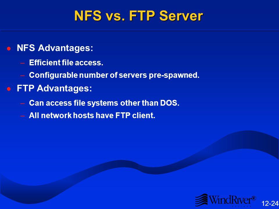 ® 12-24 NFS vs.FTP Server NFS Advantages: –Efficient file access.