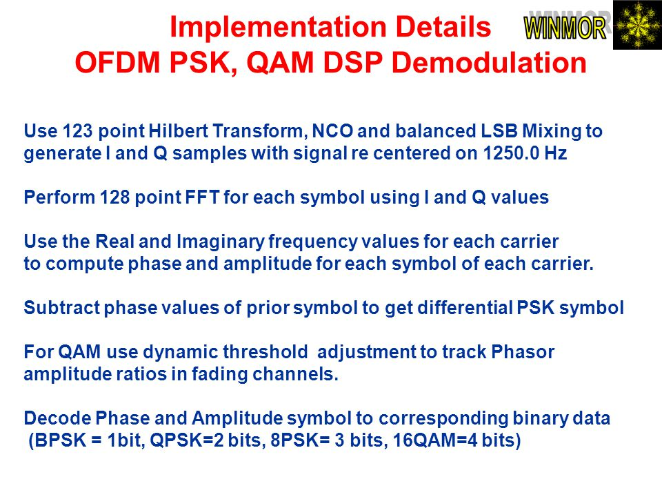 Implementation Details OFDM PSK, QAM DSP Demodulation Use 123 point Hilbert Transform, NCO and balanced LSB Mixing to generate I and Q samples with si