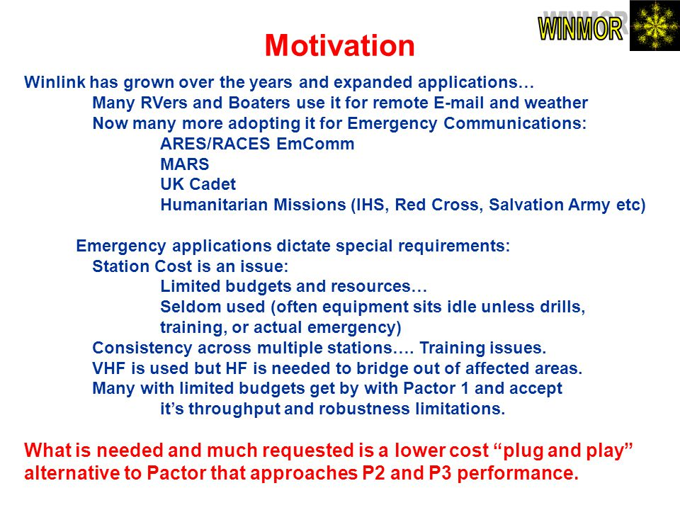 Motivation Winlink has grown over the years and expanded applications… Many RVers and Boaters use it for remote E-mail and weather Now many more adopt