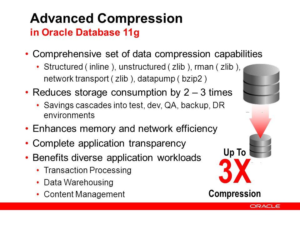 Advanced Compression in Oracle Database 11g Comprehensive set of data compression capabilities Structured ( inline ), unstructured ( zlib ), rman ( zl