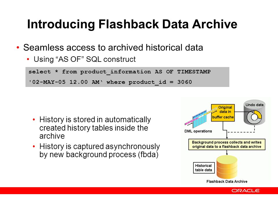 Introducing Flashback Data Archive Seamless access to archived historical data Using AS OF SQL construct select * from product_information AS OF TIMES