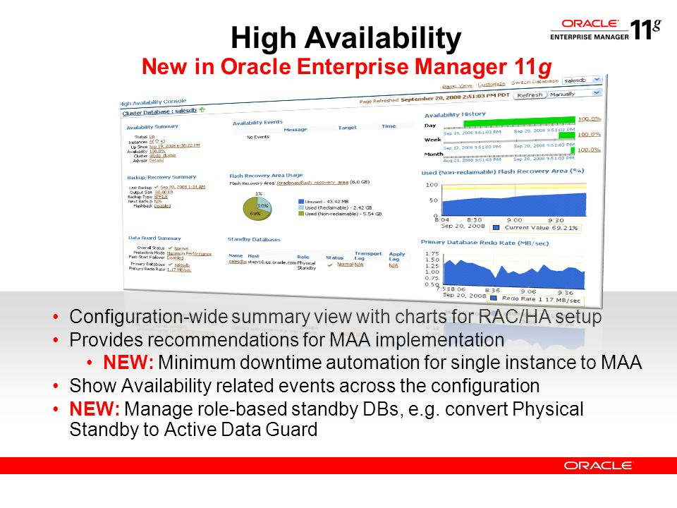 Configuration-wide summary view with charts for RAC/HA setup Provides recommendations for MAA implementation NEW: Minimum downtime automation for sing