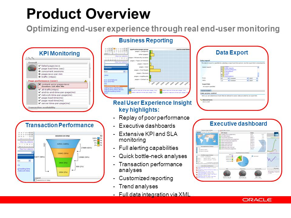 Real User Experience Insight key highlights: -Replay of poor performance -Executive dashboards -Extensive KPI and SLA monitoring -Full alerting capabi