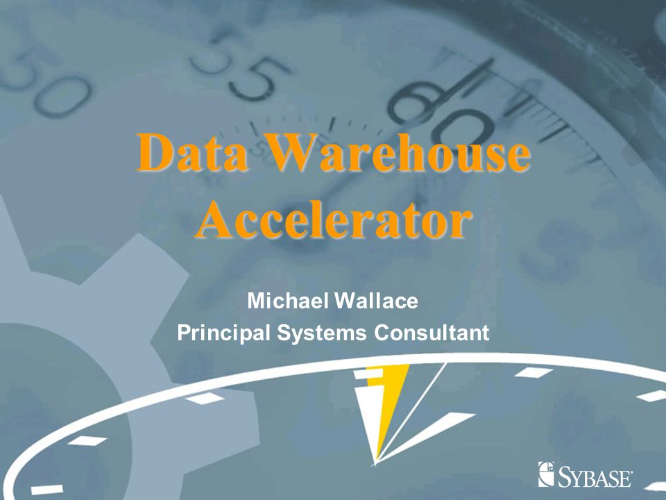 Data Warehouse Accelerator Michael Wallace Principal Systems Consultant