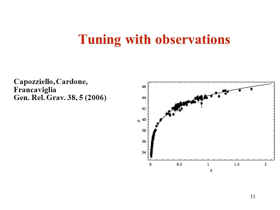 11 Tuning with observations Capozziello, Cardone, Francaviglia Gen. Rel. Grav. 38, 5 (2006)