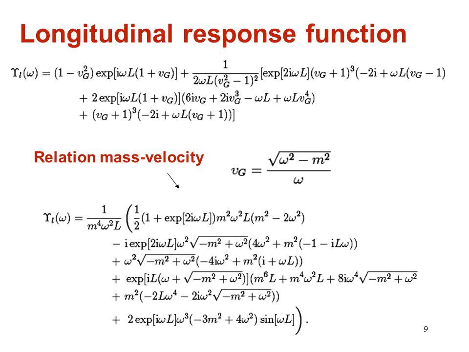 29 Longitudinal response function Relation mass-velocity